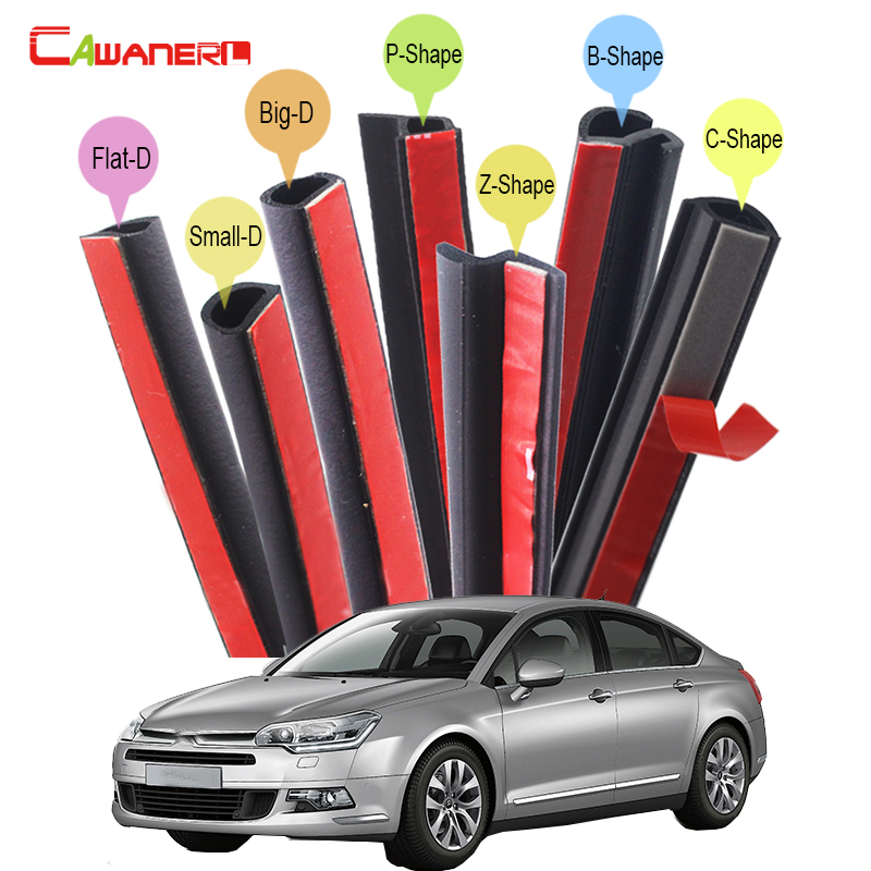 Cawanerl Car Hood Door Trunk Rubber Sealing Strip Kit Weatherstrip Noise Insulation Seal Edge Trim For Citroen C1 C3 C4 C5 C6 цена