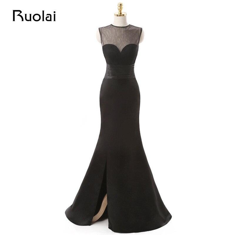 New Real Prom Kleid Scoop Sheer Top Tüll geraffte Taille Meerjungfrau schwarzes Abendkleid mit geschlitztem Satin Formal Abendkleid ASAE74