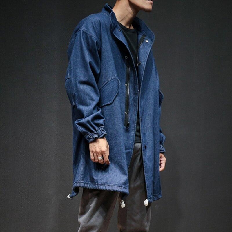 Autumn Spring Men Denim Trench Coat Male Fashion Casual Loose Jean Long Windbreaker Jacket Mens Overcoat