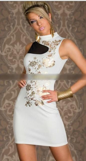 Mode Bronzing Berdiri Kerah Mini Dress Pesta Seksi Bodycon Hitam
