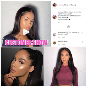 Image 2 - Mshere Straight Lace Front Human Hair Wigs 13x4 Brazilian Straight Hair Wig with Baby Hair 4x4 Lace Closure Wig Pre Plucked 150%