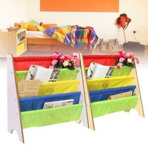 Image 5 - 4 계층 나무 신발 랙 선반 홀더 스토리지 홈 주최자 멀티 컬러 포켓 책장 어린이 가구 책장