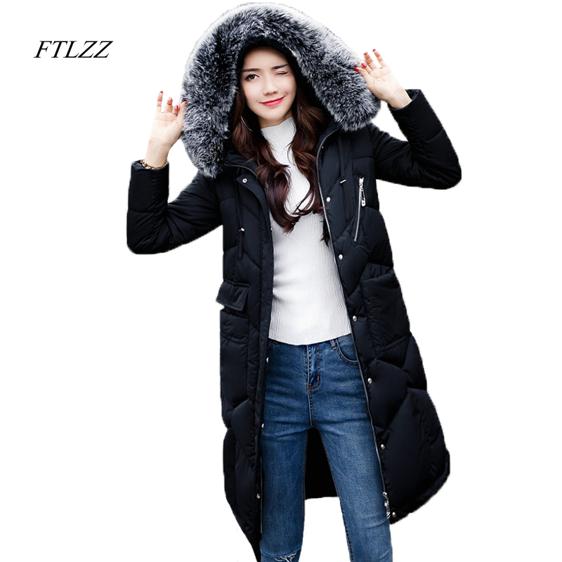 Ftlzz New Women Winter Jacket Cotton Coat Slim Large Fur Collar Hooded Parkas Padded Warm Thickness Medium Long Black Overcoat qazxsw 2017 new winter cotton coat women slim hooded jacket two sides wear long parkas fur collar winter padded abrigos hb339