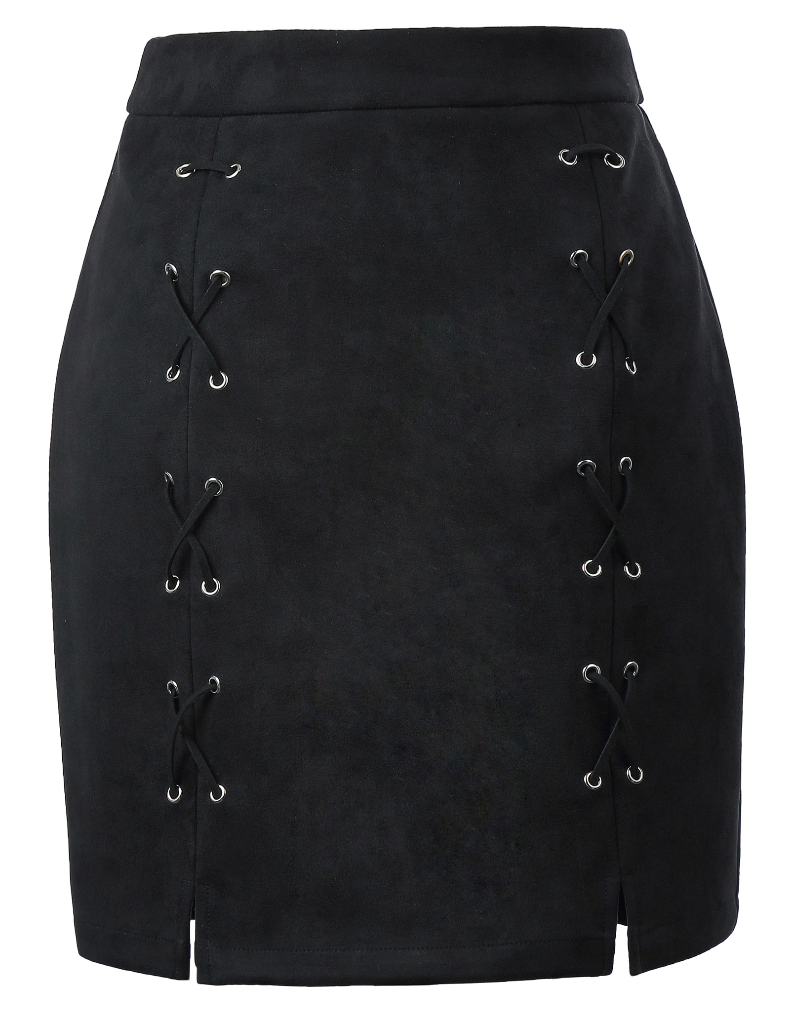 Kate Kasin Women Sexy Criss Cross Tight Bodycon High Waist Faux Suede Stretch Mini Skirt Lace Up Split Tight Mini Skirt