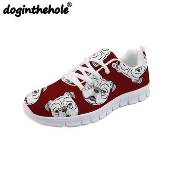 doginthehole Sneakers Women Sports Women's Flats Walking Shoes English Bulldog Prined Tennis Shoes Mesh Breathable Ladies Shoes