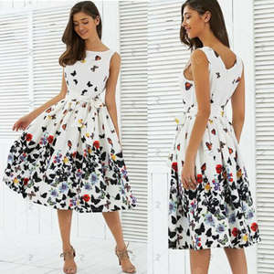 Swing-Dresses Floral Vintage Zipper-Sashes Butterfly Women Fashion Sleeveless Summer