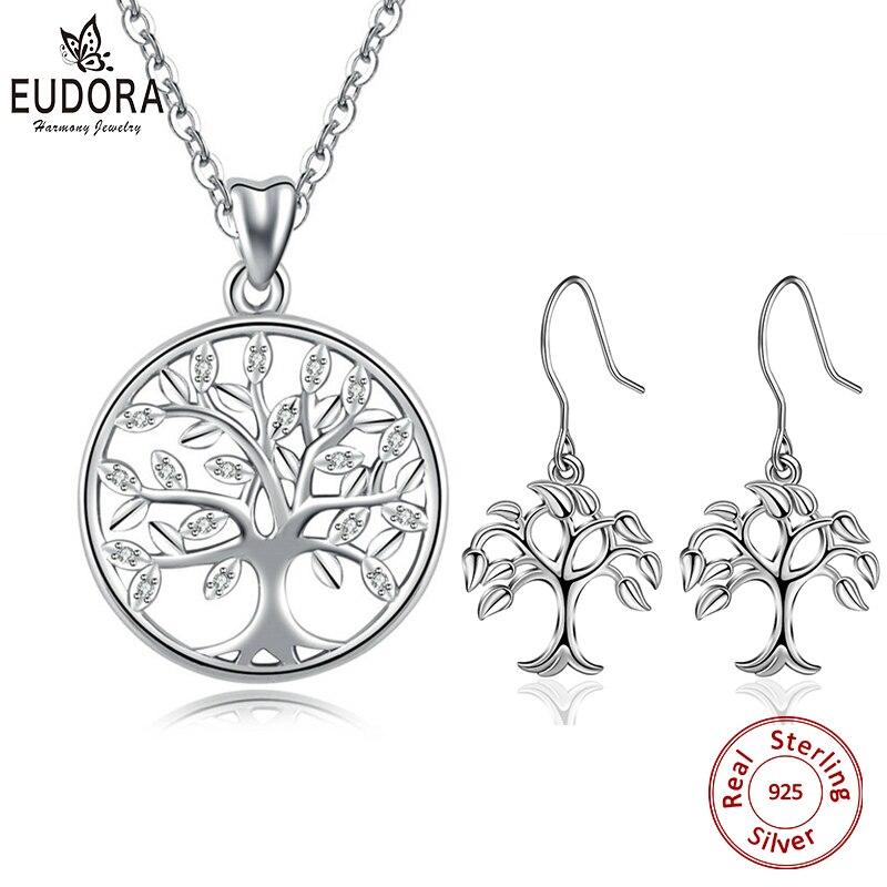 Юдора стерлингового серебра 925 Дерево Жизни комплект украшений с камнями дерева кулон Цепочки и ожерелья и дерево жизни серьги для женщин Jewelry D170
