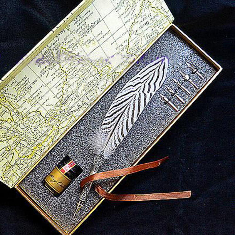 High Quality Quill Lophura Nycthemera Feather Pen Set with 5 Nibs 1 Ink Signature Calligraphy  Carving Wedding Gift Dip Pen heroes 5028 3 nibs 3 in 1 metal calligraphy pen art pen parallel pen gothic arabic italic uncial replacement 1 1 1 5 1 9 mm