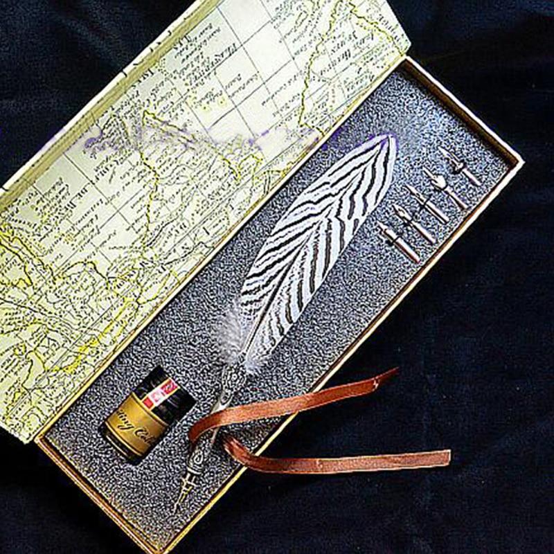 Stylo plume haute qualité Lophura Nycthemera avec 5 plumes 1 Signature d'encre calligraphie sculpture cadeau de mariage stylo Dip