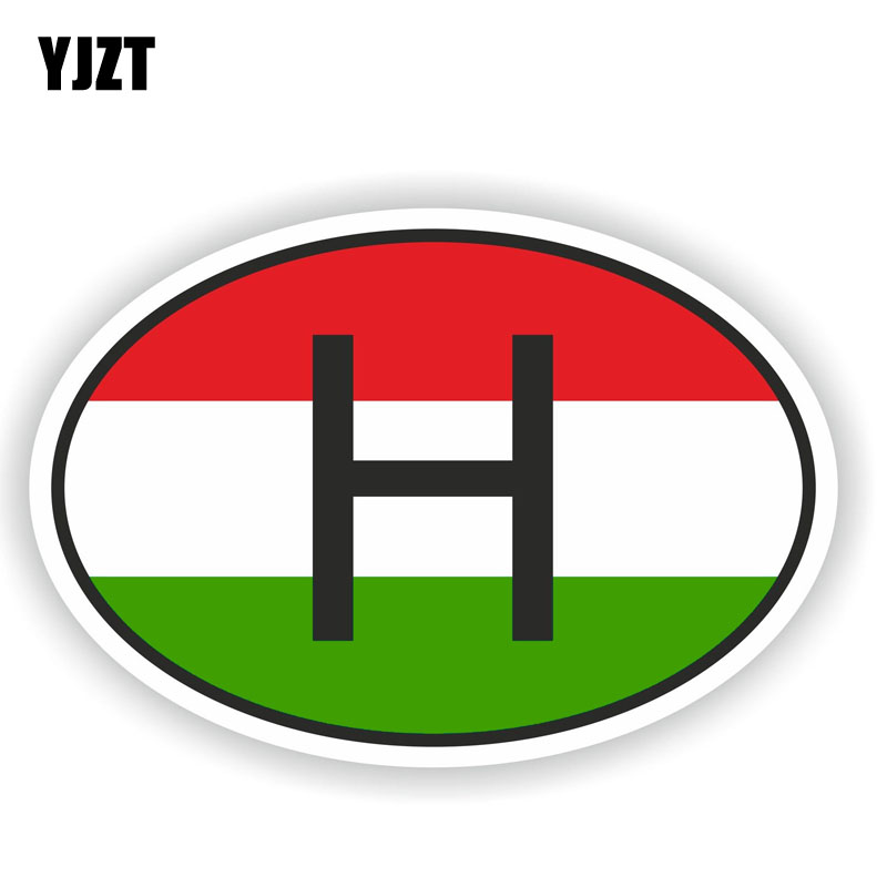 YJZT 16CM*10.7CM Oval H HUNGARY COUNTRY CODE Flag Car Sticker Decal Accessories 6-1503