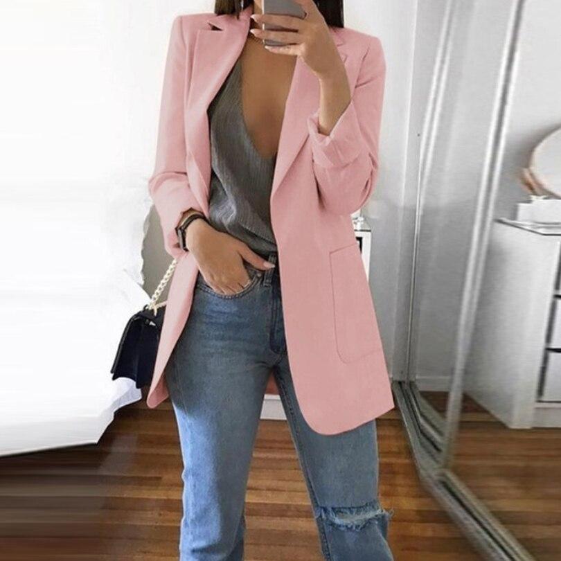 Sexy Pockets Black Women Blazer Autumn Suit Jacket Business Notched Ladies Blazer Fashion Casualsuits &Blazer Party Coat 2019
