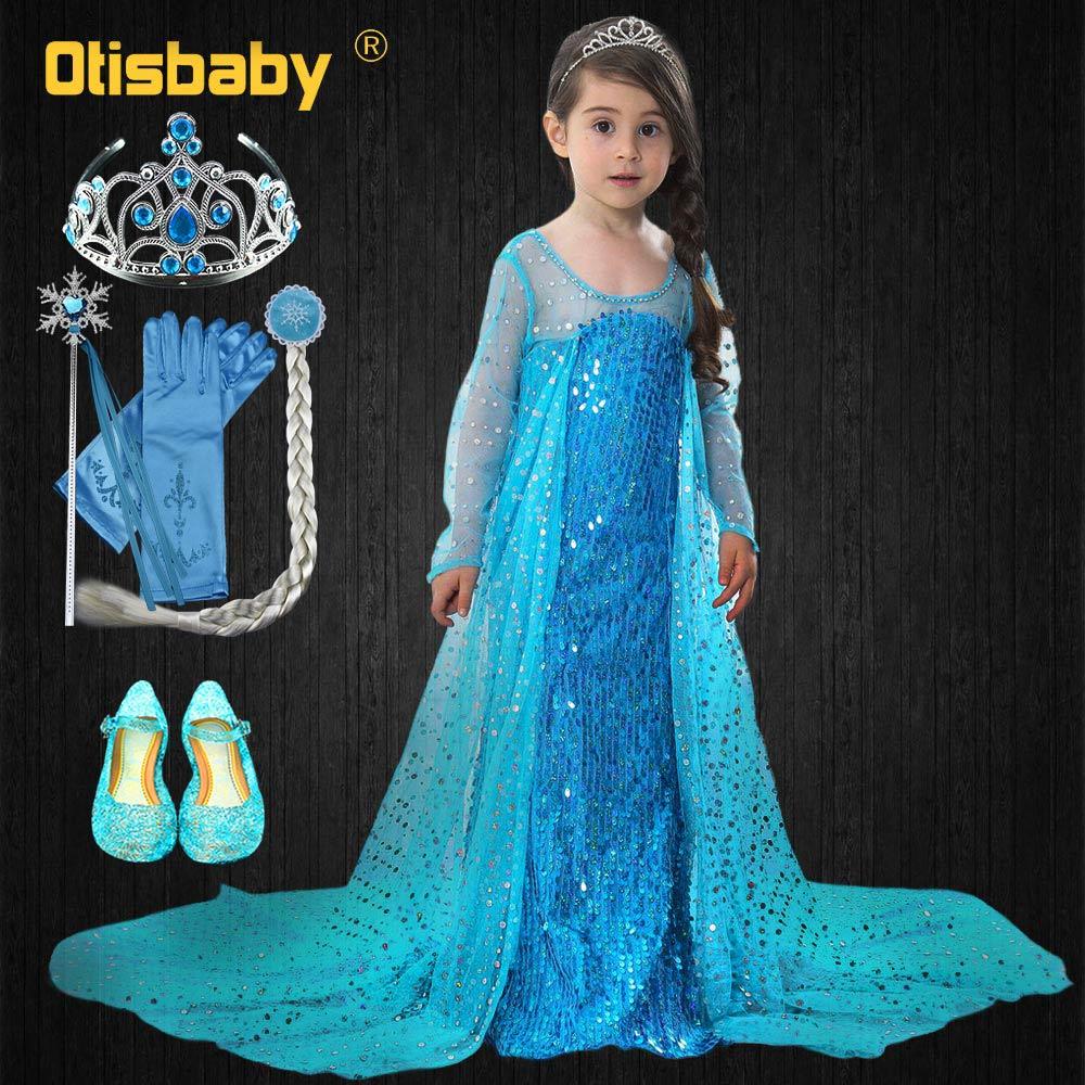 Bebê meninas elsa vestido até o chão princesa festa de aniversário vestido de baile crianças neve rainha lantejoulas tule vestido com longo manto
