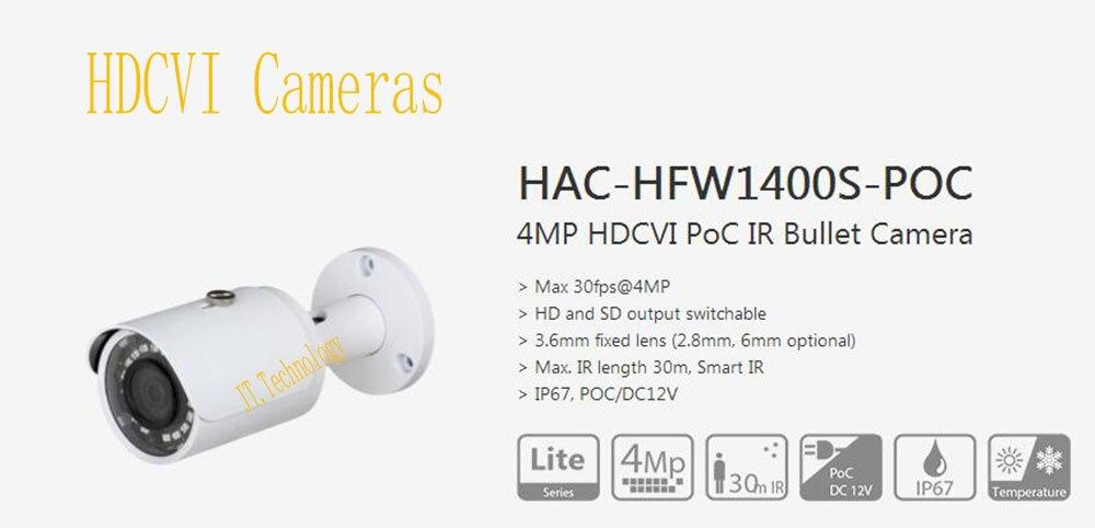 Бесплатная доставка DAHUA оригинальный английский безопасности Камера CCTV 4MP водонепроницаемый HDCVI PoC пуля ИК Камера без логотипа HAC-HFW1400S-POC