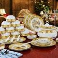 Best 56pcs\set dinnerware set bone china tableware set vintage china city bowl saucer plate AAAAA bone china family dinner set