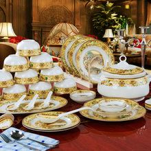 Best 56pcsset dinnerware set bone china tableware set vintage china city bowl saucer plate AAAAA bone china family dinner set