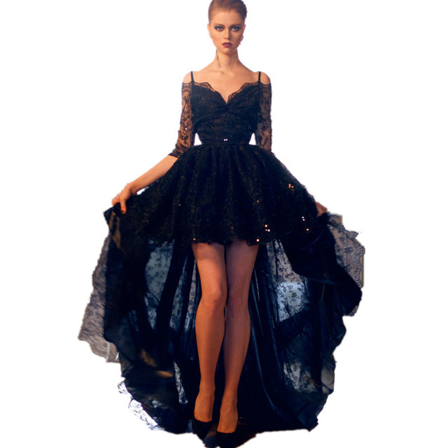 d045b5d65f Short Front Long Back Hi Low Black Lace Prom Dress Party Dress Homecoming  Dress with Sequins and Beads