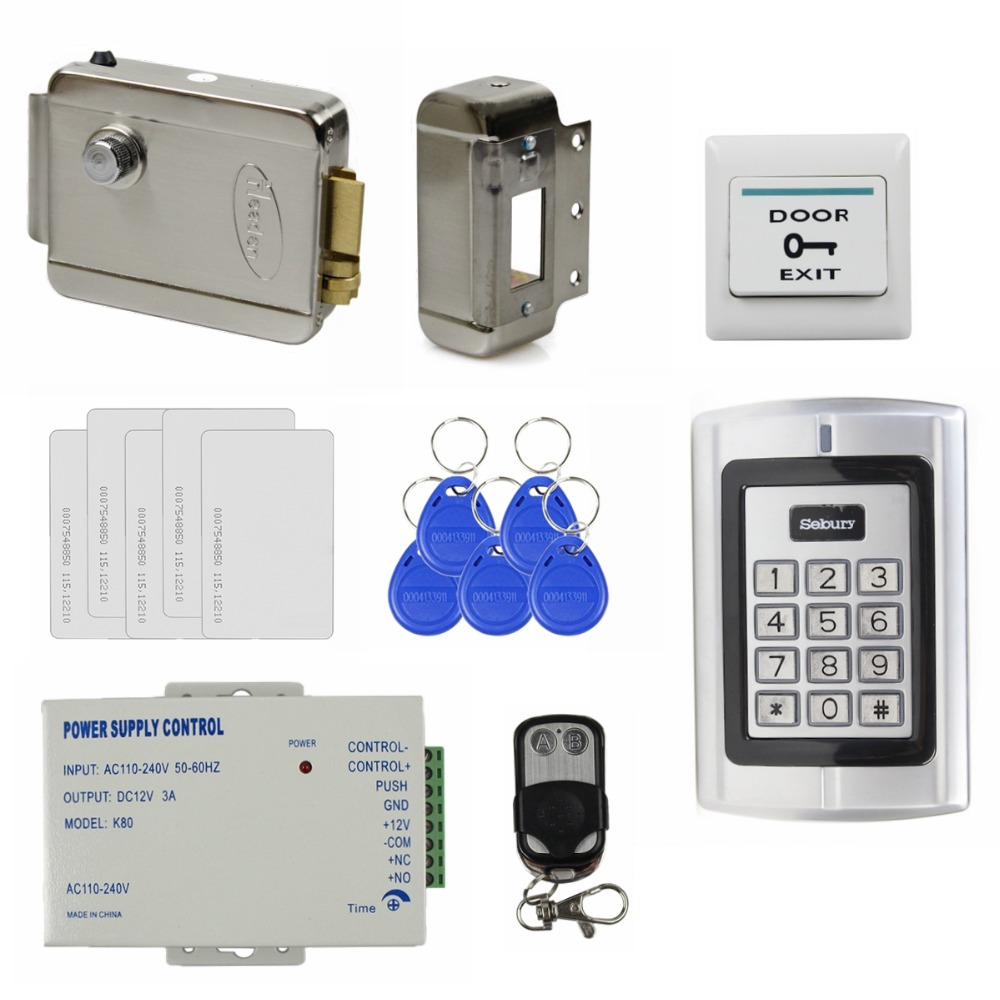 ФОТО DIY Full Kit Set Electric Lock 125KHz RFID Reader Password Metal Keypad Access Control System Security Kit Remote Control BC2000