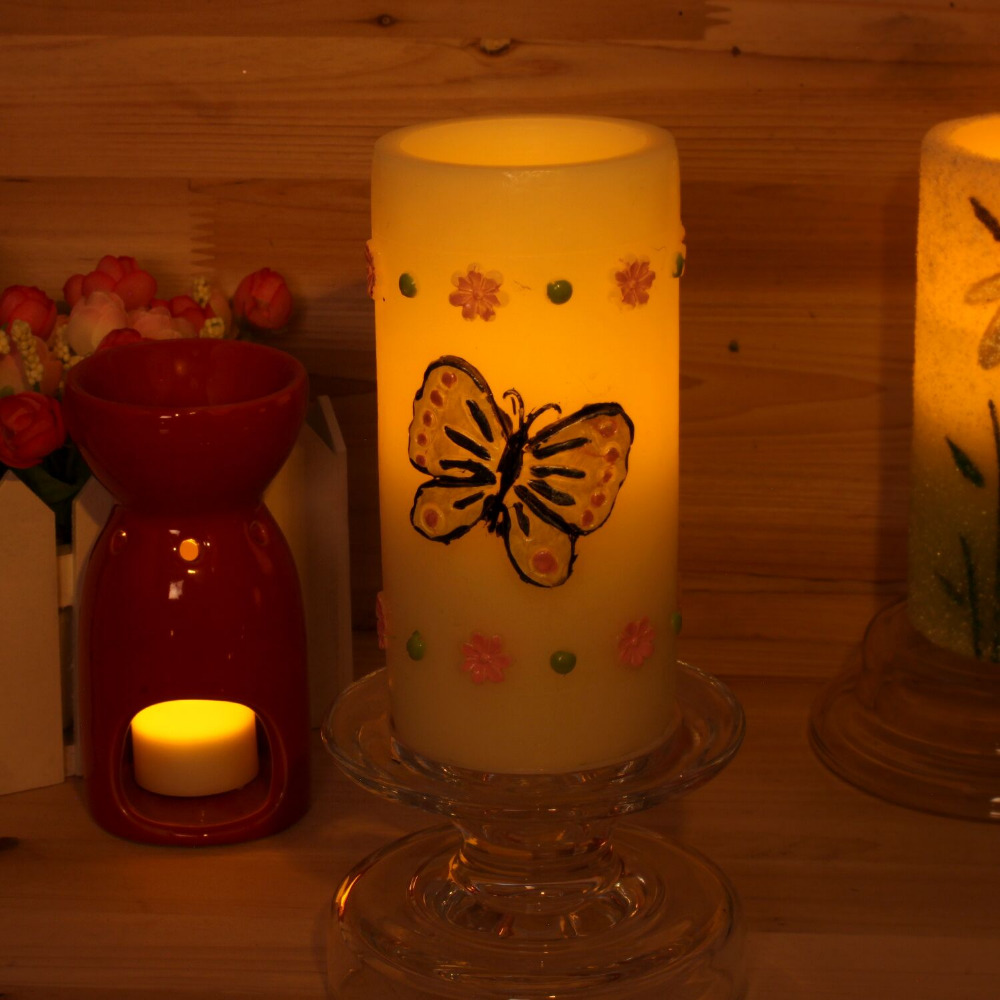 Candle Light Painting Us 16 99 Dfl Led Flameless Candle Light Embossed Yellow Butterfly 100 Hand Painting Simple Spring Style Design In Candles From Home Garden On