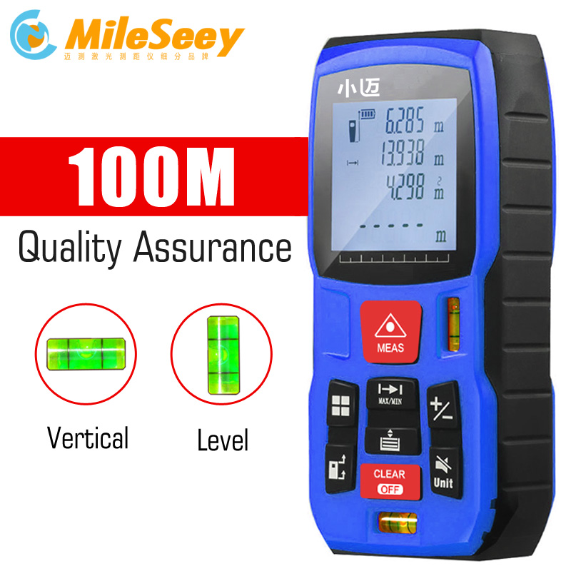 Mileseey Mini medidor de distancia láser Digital trena cinta láser medida diastímetro probador herramienta 100m-80m-60m-40m telémetro láser