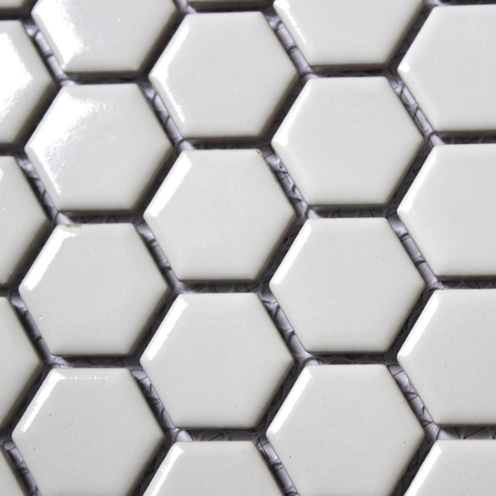 11PCS fashion white hexagon ceramic mosaic kitchen backsplash ...