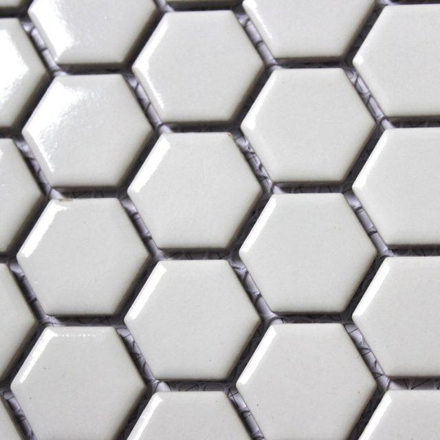 11PCS Fashion White Hexagon Ceramic Mosaic Kitchen Backsplash Bathroom Wallpaper Wall Shower Background Tile China Wholesale