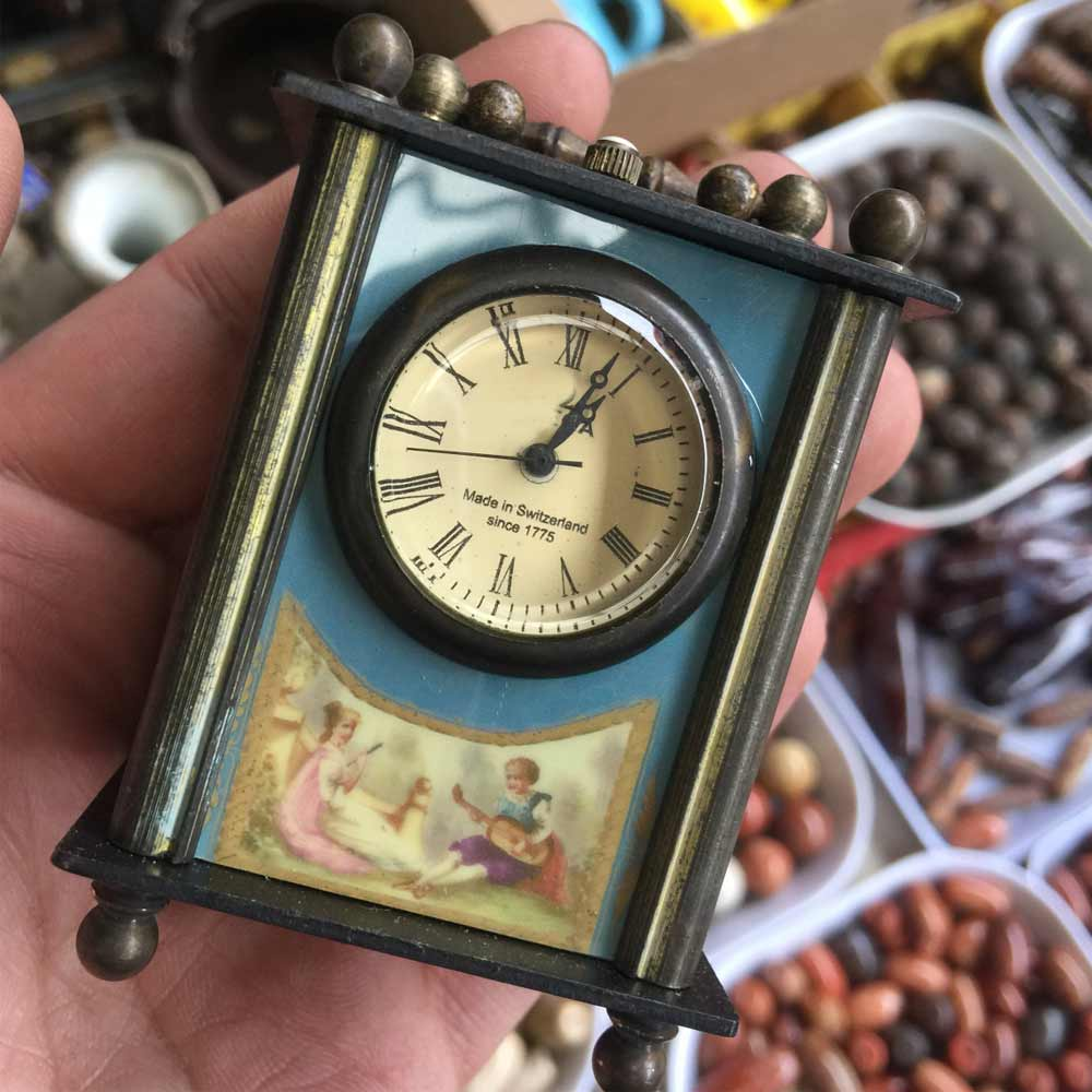 Rare Elaborate Chinese handmade old copper glass mechanical Desk clock watch shipping free