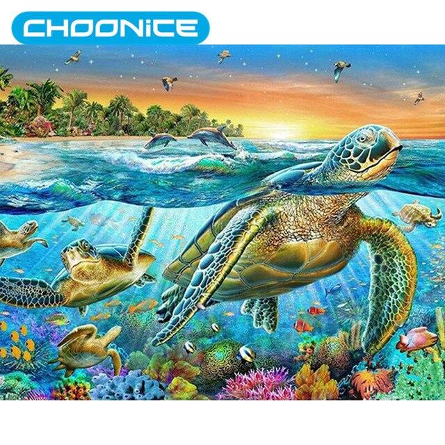 Penyu Laut Cross Stitch Berlian Lukisan Dunia Bawah Laut Diy 3d