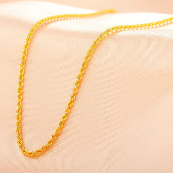 Pure 18K Yellow Gold 1.8 mm Rope Link Chain Necklace 40cm Length 1