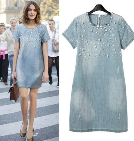 Plus Size - Denim Jeans Pearl Beaded Casual O Neck Long Shirt / Mini Dresses (Us 4 - 22W)