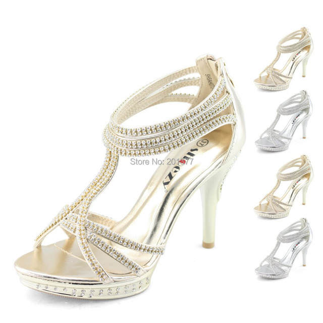 60fca9236bf SHOEZY Brand ankle strap zip sandals gold silver crystal high heels wedding  shoes woman strappy party sparkly ladies zipper prom