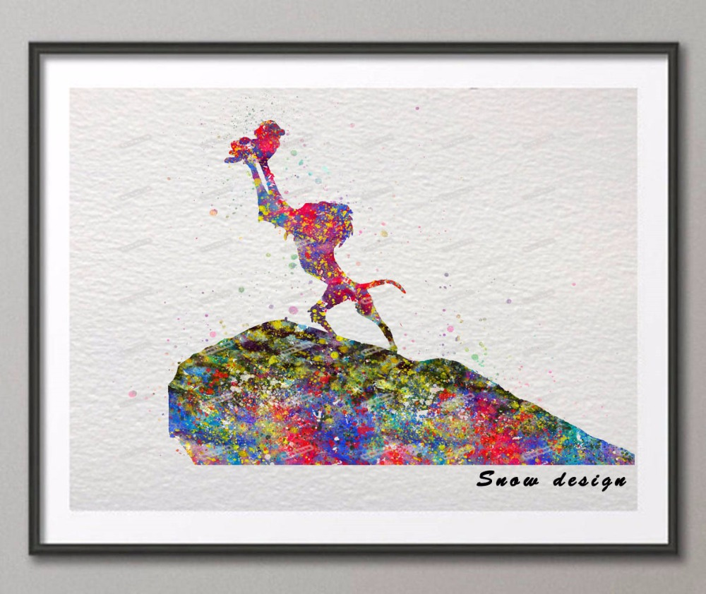 The lion king rafiki simba original watercolor canvas painting wall art poster print pictures kids room decor wall hanging gifts in painting calligraphy