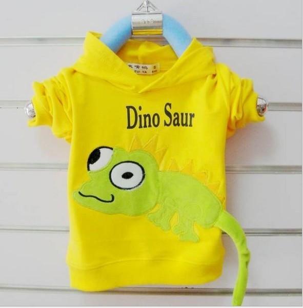 2016 la Primavera y El Otoño párrafo sirve niños dinosaurio de dibujos animados lagarto juguetón suéter con capucha suéter de la capa niños