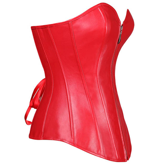 8abed58f98fad 2018 Sexy Women Zipper Steampunk Corselet Strapless Waist Trainer Leather  Corset Body Shapewear Bustier Overbust Corset