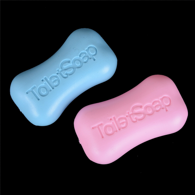 2PCS Mini Simulation Soap Dollhouse Miniature Dollhouse Bathroom Accessories Baby Toys Gift Lovely Bath Accessory 8cm Blue Pink 4