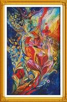 Paons colorés point de croix kit 18ct 14ct 11ct compter imprimé toile couture broderie DIY main couture