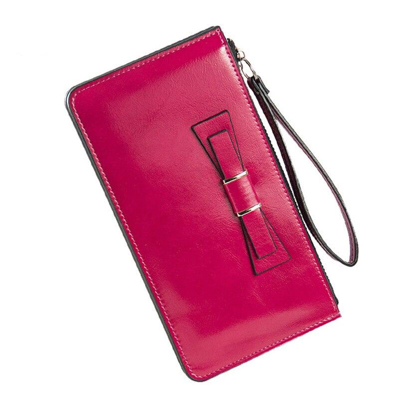 Brand Designer Bow Women Long Wallet Zipper Leather Male Purse Women's Clutch Handy Bag Luxury Wallets carteira