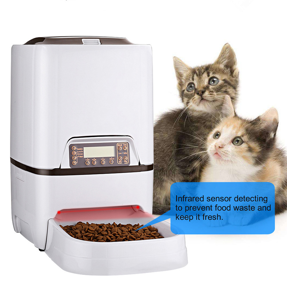 6l Automatic Convenient Pet Timing Feeder With Voice Recorder Speake Lcd Display Infrared Sensor Cat Dog Food Feeding Dispenser