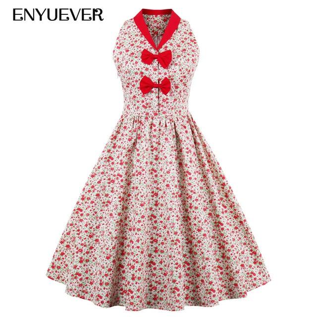 Enyuever Plus Size Vintage Dress Floral Print Bow Swing Robe 1950s  Rockabilly Dress Party Vestidos Pin Up Retro Summer Sundress c628b4bd7314