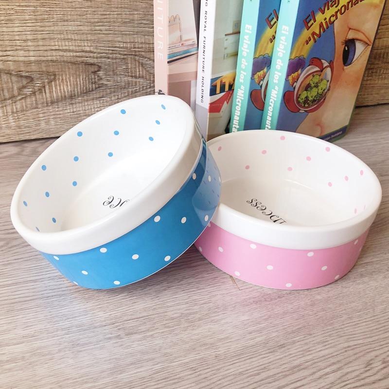 Pet Dog Beautiful Ceramics Pink Blue Dot Pattern Bowl Dog Cat Drinking Eating FeederS BW761
