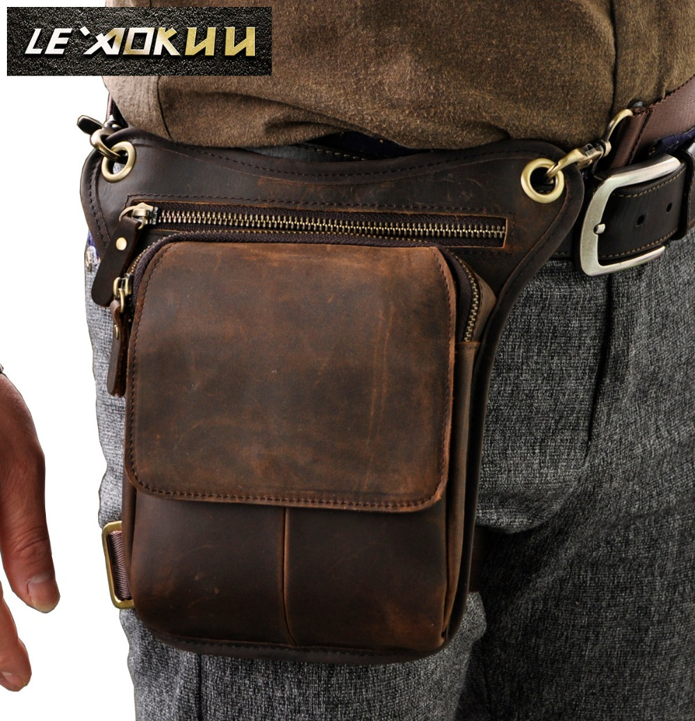 Real Leather Men Design Casual Messenger Crossbody Sling Bag Multifunction Fashion Waist Belt Pack Leg Drop Bag Pad Pouch 211-1