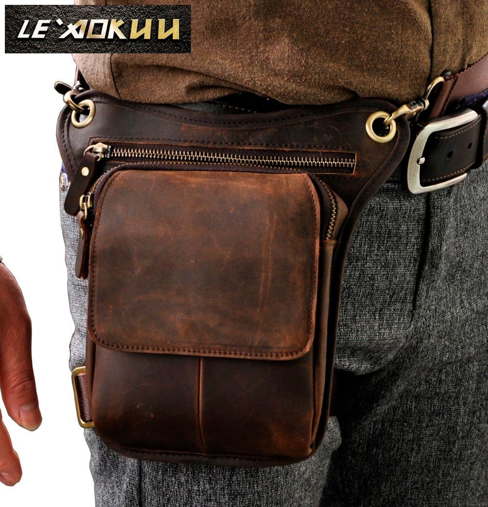 Real Leather Men Design Casual Messenger Crossbody Sling Bag Multifunction Fashion Waist Belt Pack Leg Drop Bag Pad Pouch 211-1
