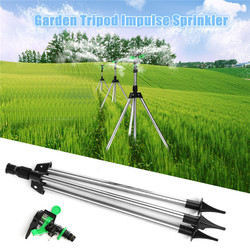 1Set Stainless Steel Tripod Impulse Sprinkler Pulsating Grass Lawn Watering Irrigation Kits For Garden Watering Tool