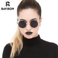 Baviron в стиле ретро панк Солнцезащитные очки для женщин унисекс классический Дизайн Защита от солнца Очки женщина Лидер продаж сплав круглый...