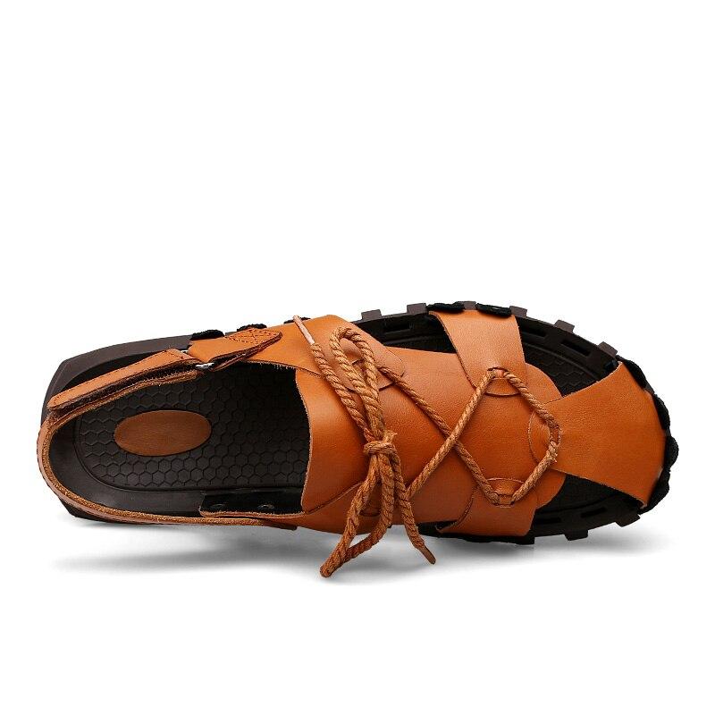 DJSUNNYMIX Лето Для мужчин с натуральной Кожаные сандалии с мягкой подошвой Римские сандалии для Для мужчин повседневная обувь Для мужчин