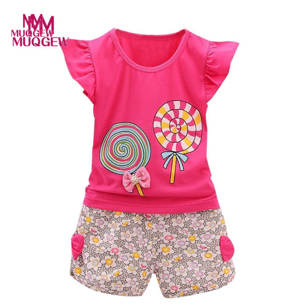 summer children arrival children clothing 2PCS Toddler Kids Baby Girls Outfits Lolly T-shirt Tops+Short Pants Clothes Set newborn toddler girls summer t shirt skirt clothing set kids baby girl denim tops shirt tutu skirts party 3pcs outfits set