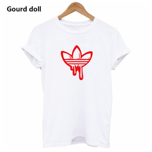 hot AD  Printing Women's T shirt Casual Round neck European and American  tide black white short t shirt woman tee shirts red