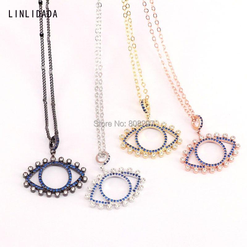 10Pcs high quality gold rose gold silver black metal micro pave crystal blue cz eye pendant fashion chain necklace-in Chain Necklaces from Jewelry & Accessories    1