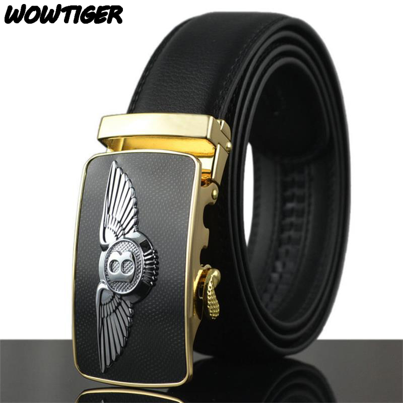 WOWTIGER New Automatic buckle men belts fashion business belt Famous brand luxury belts for men leather