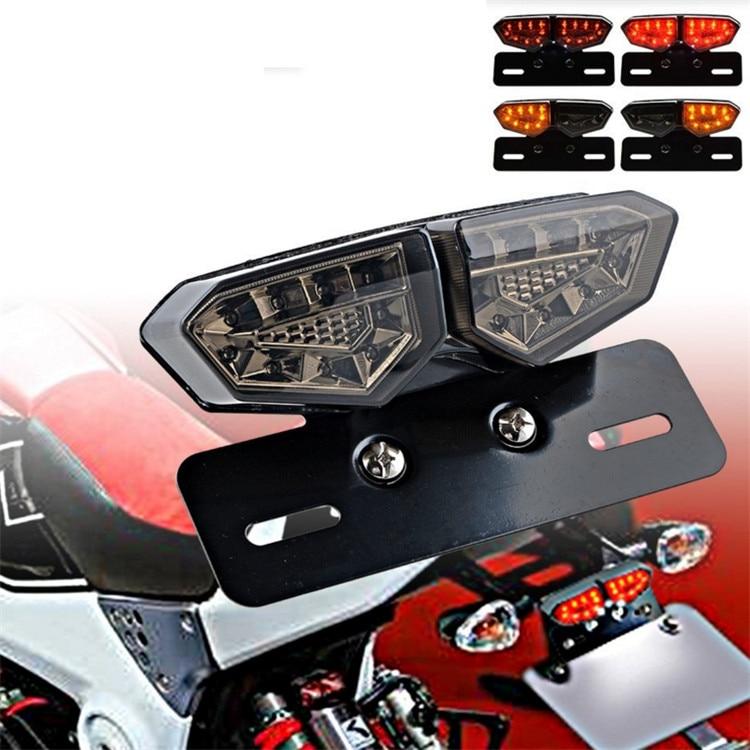 smoke lens universal brand motorbike flashers moto brake light for kawasaki honda suzuki yamaha Harley LED motorcycle tail light