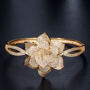 Image 2 - CWWZircons Yellow Gold Color Heart Shape Flower Bridal Wedding Party CZ Bangle Bracelets and Rings Sets for Brides Jewelry T193